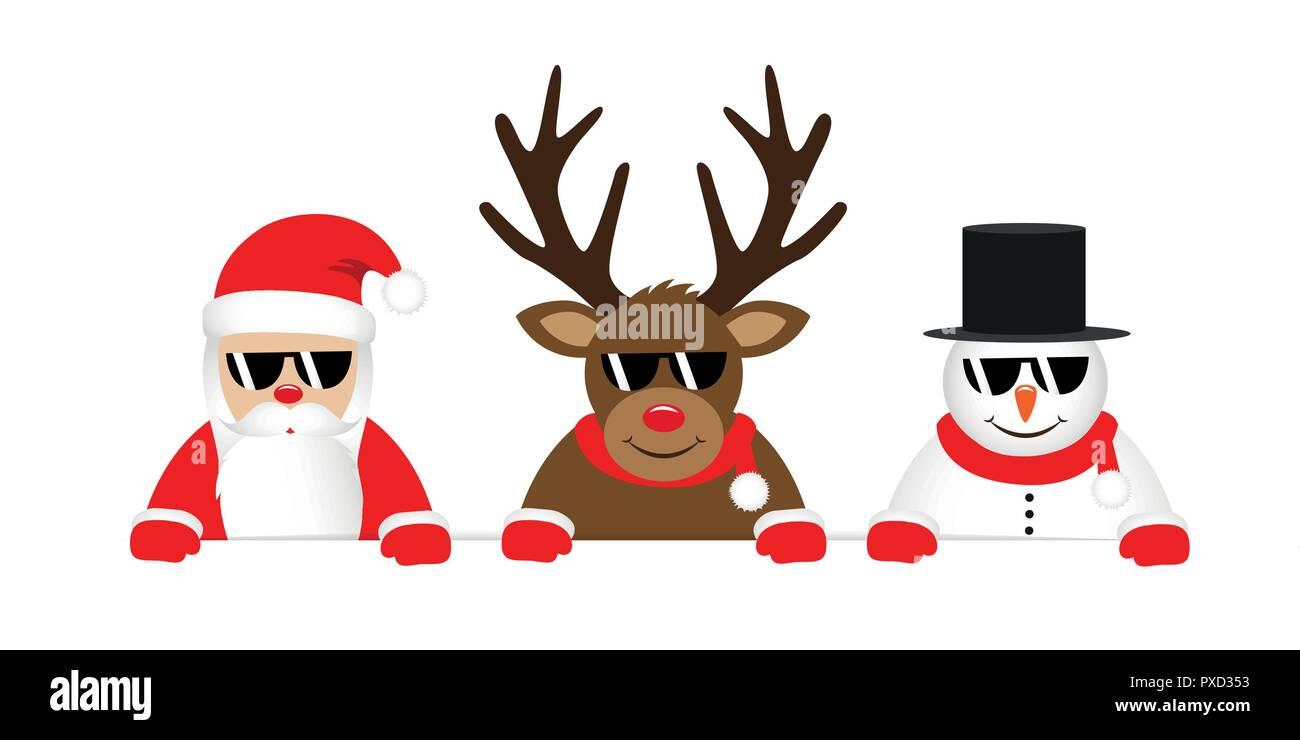 Renne Babbo Natale.Carino Renne Babbo Natale E Pupazzo Di Cartone Animato Con Occhiali