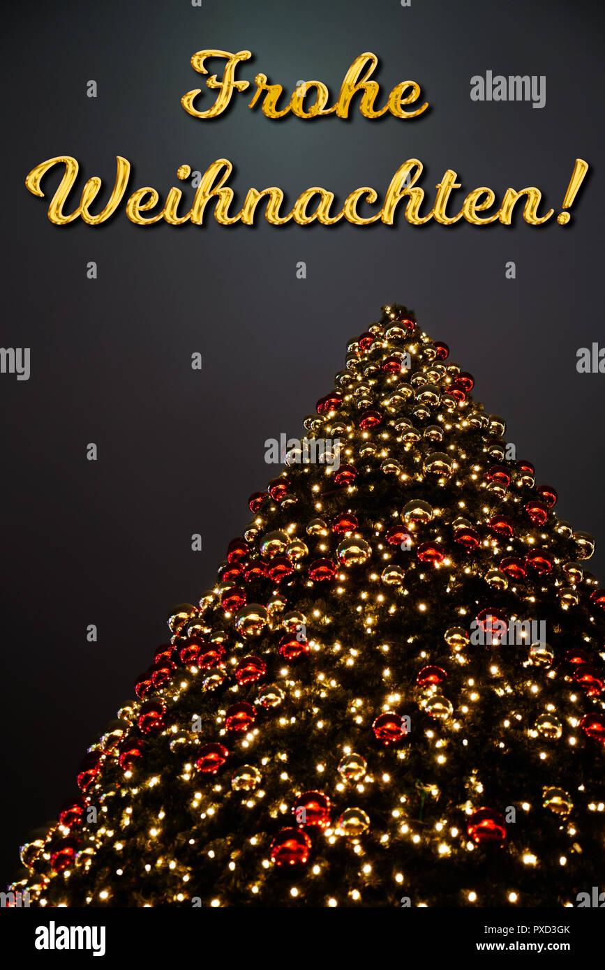 Auguri Buon Natale In Tedesco.Un Albero Di Natale Con Oro E Rosso Della Decorazione Il Testo Tedesco Frohe Weihnachten Significa Buon Natale La Vacanza Perfetta Biglietto Di Auguri Foto Stock Alamy