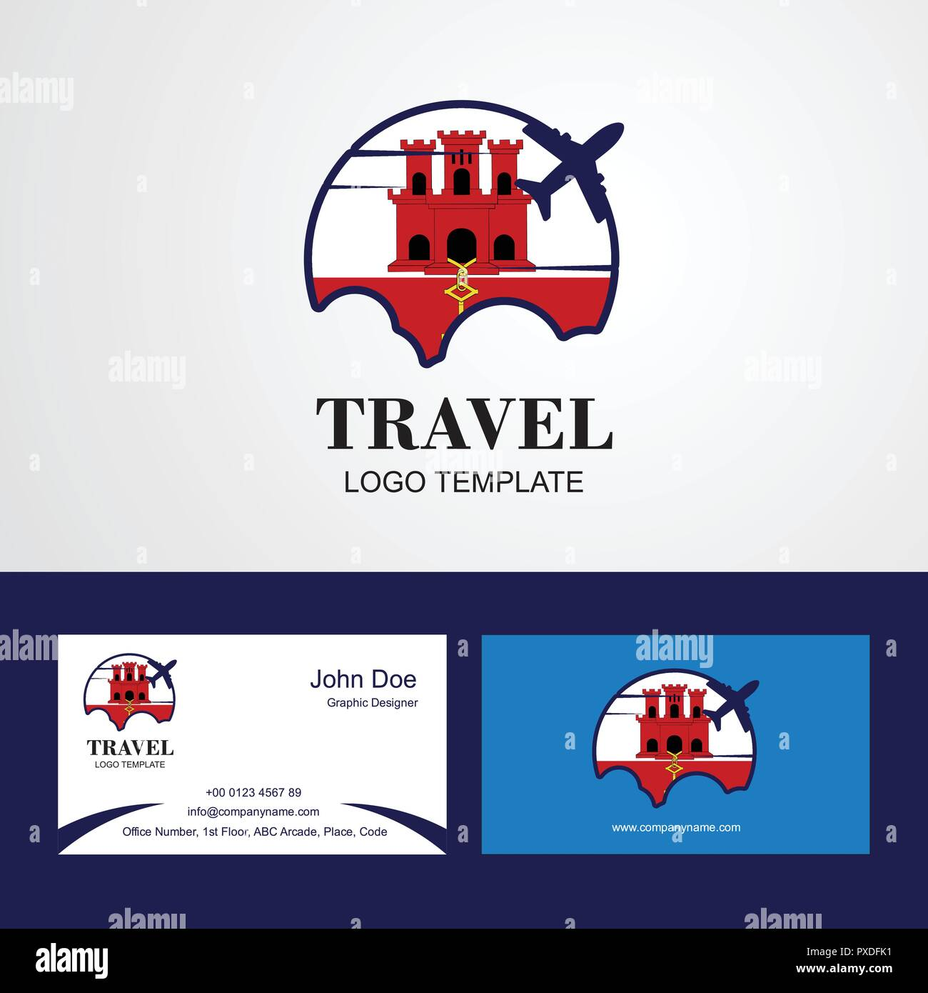 Viaggio Bandiera Di Gibilterra Logo E Biglietto Da Visita Design