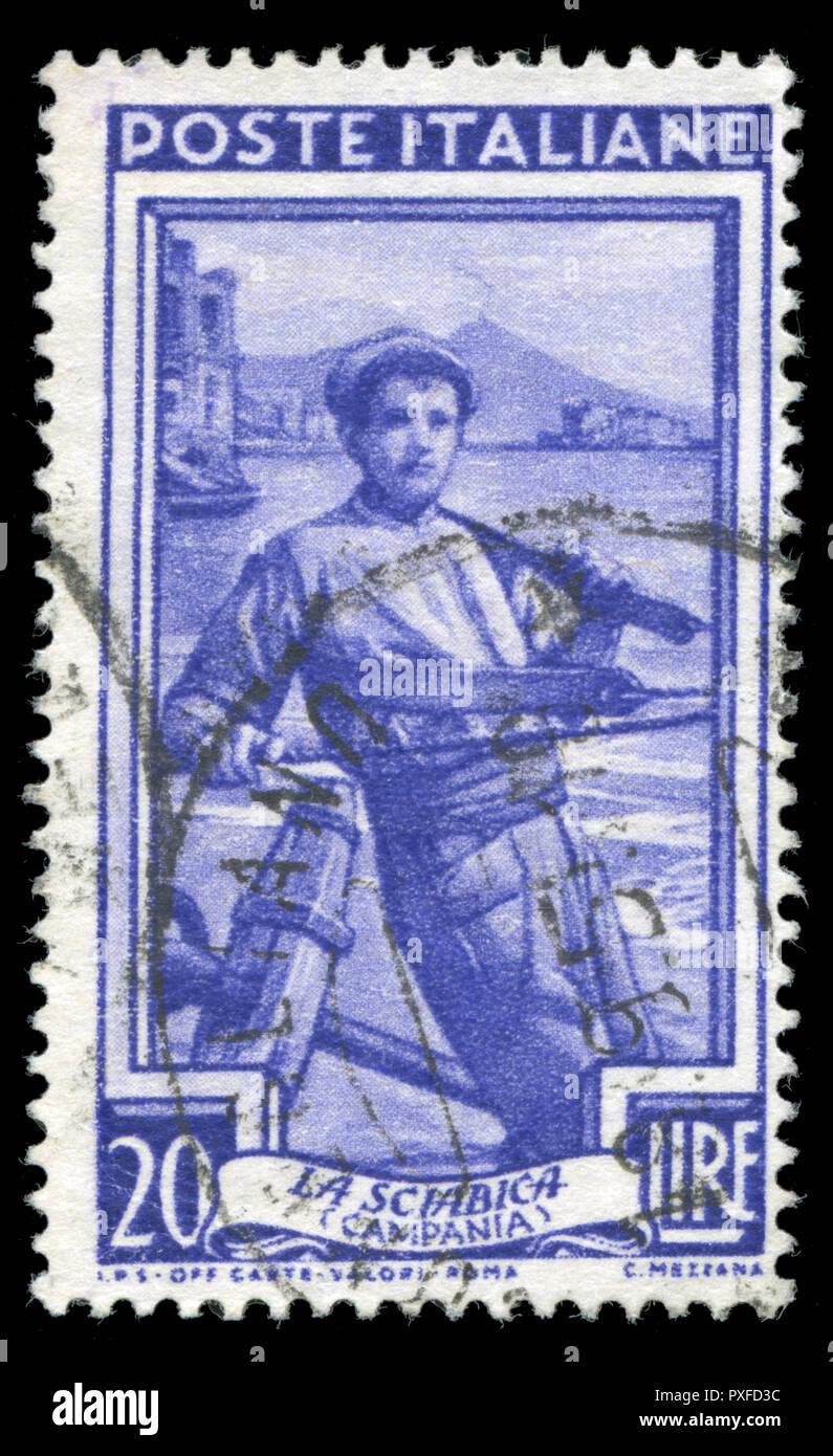 Con timbro postale timbro dall Italia in occupazioni provinciale serie emesse nel 1950 Immagini Stock
