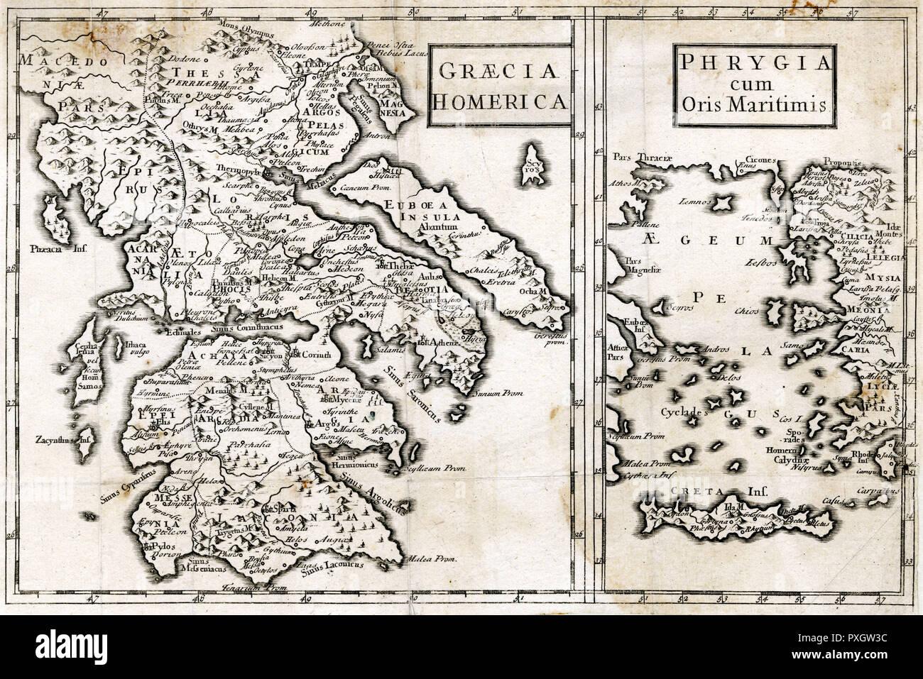 Cartina Della Grecia Antica In Italiano.Mappa Della Grecia Antica Frigia E Creta Al Tempo Di Omero Data Bc Foto Stock Alamy