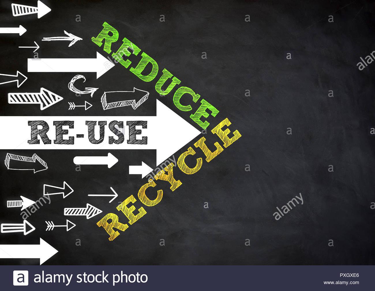 Ridurre - riutilizzare - Riciclare Immagini Stock