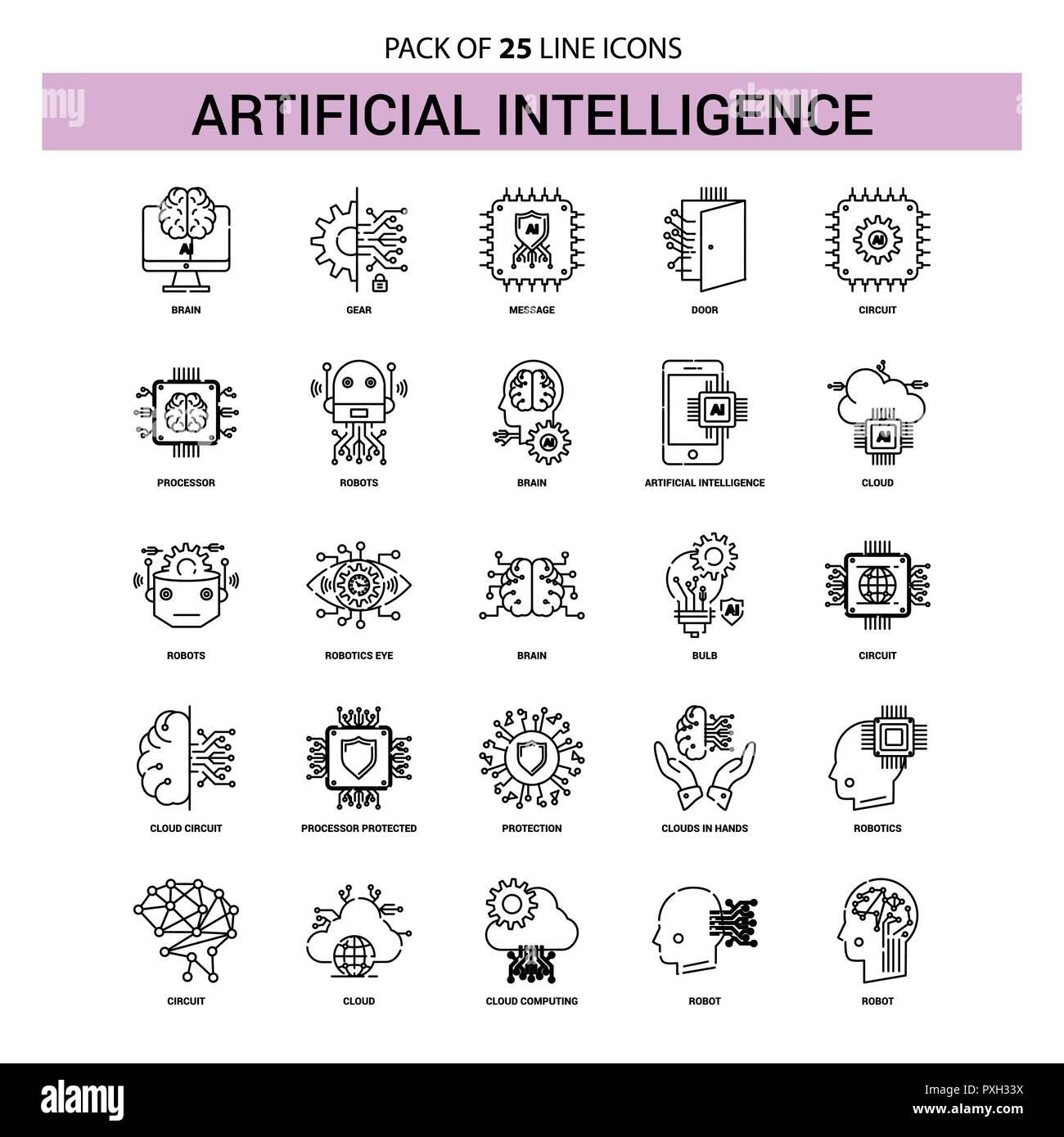 Intelligenza artificiale la linea Icon Set - 25 profilo tratteggiato