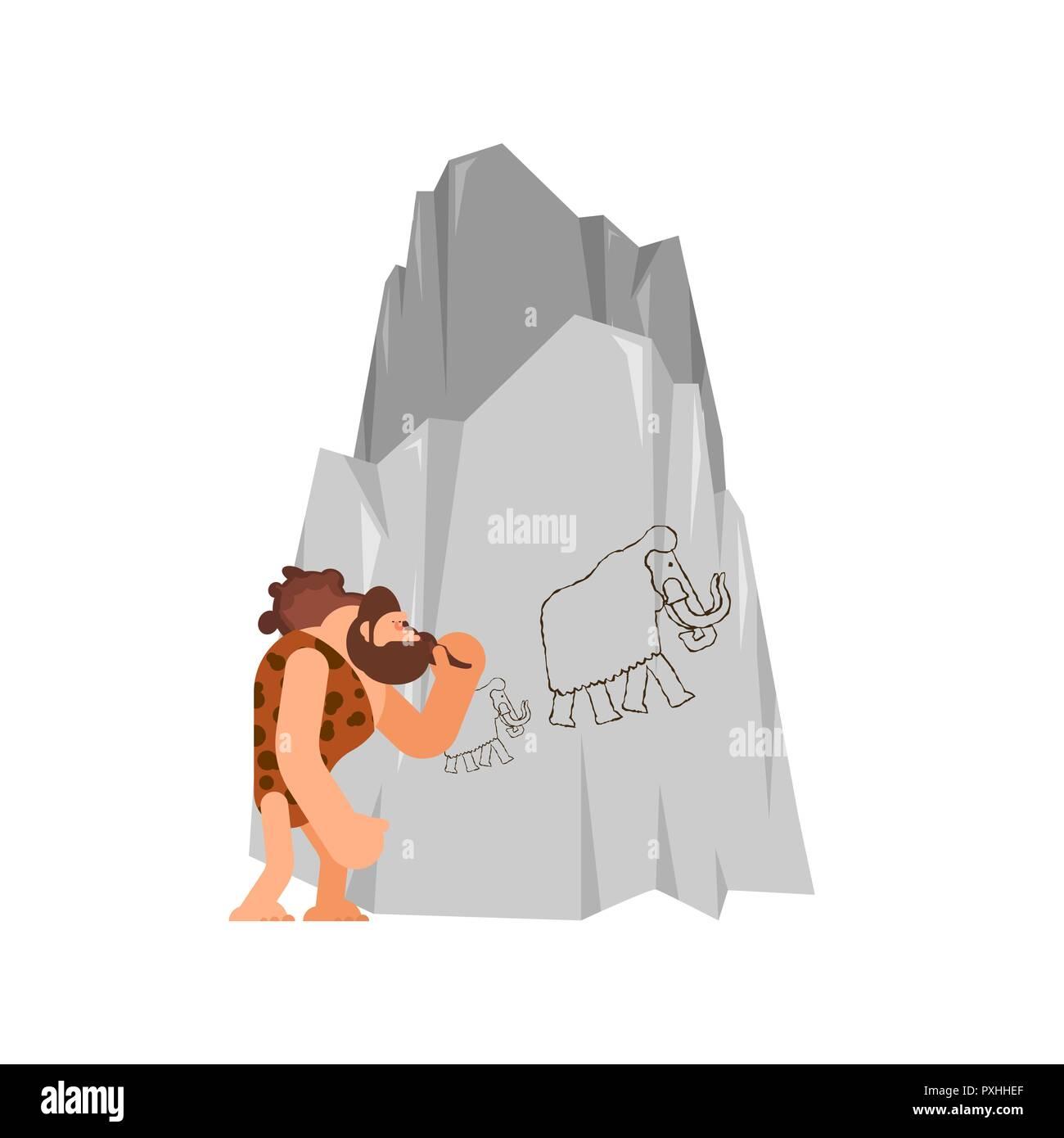 Caveman e randello. luomo preistorico e club. antica età della