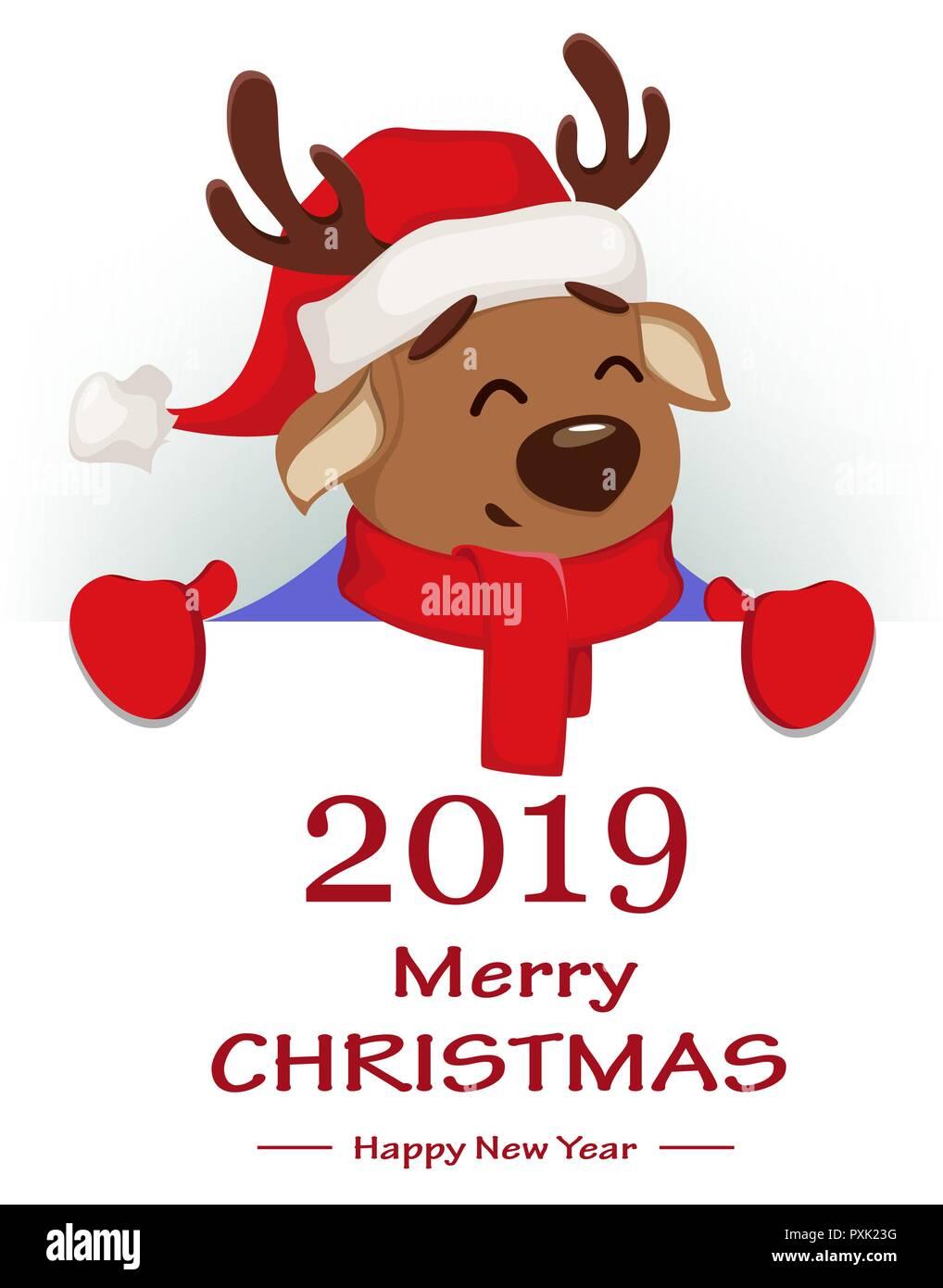 Immagini Divertenti Natale 2019.Auguri Di Buon Natale Carino Cervi Indossando Santa Claus