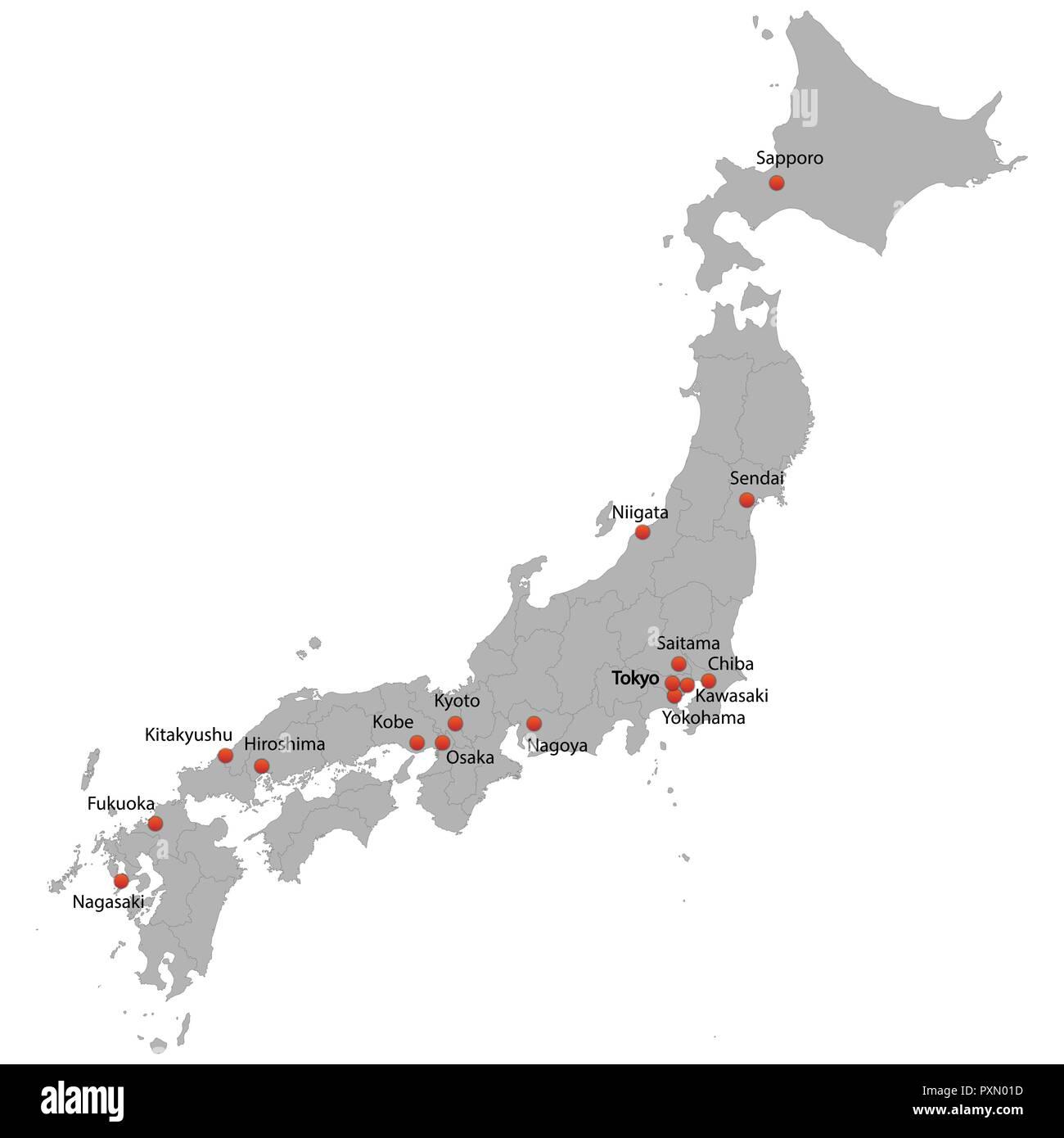 Cartina Del Giappone Politica.Mappa Dettagliata Del Giappone Con La Citta Immagine E Vettoriale Alamy