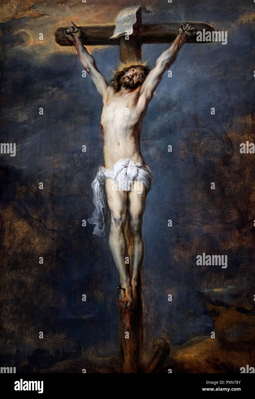 Cristo sulla croce da Sir Anthony van Dyck (1599-1641), olio su pannello, c.1627 Immagini Stock