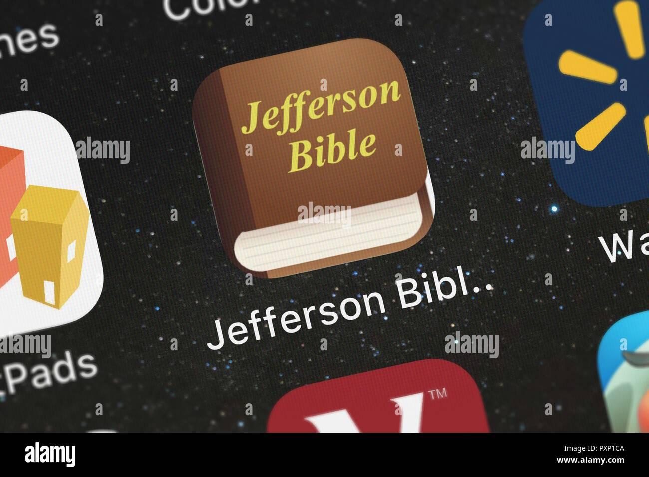London, Regno Unito - 23 Ottobre 2018: Close-up shot del Jefferson Bibbia (la vita e i costumi di Gesù di Nazaret) mobile app da Oleg Shukal Immagini Stock