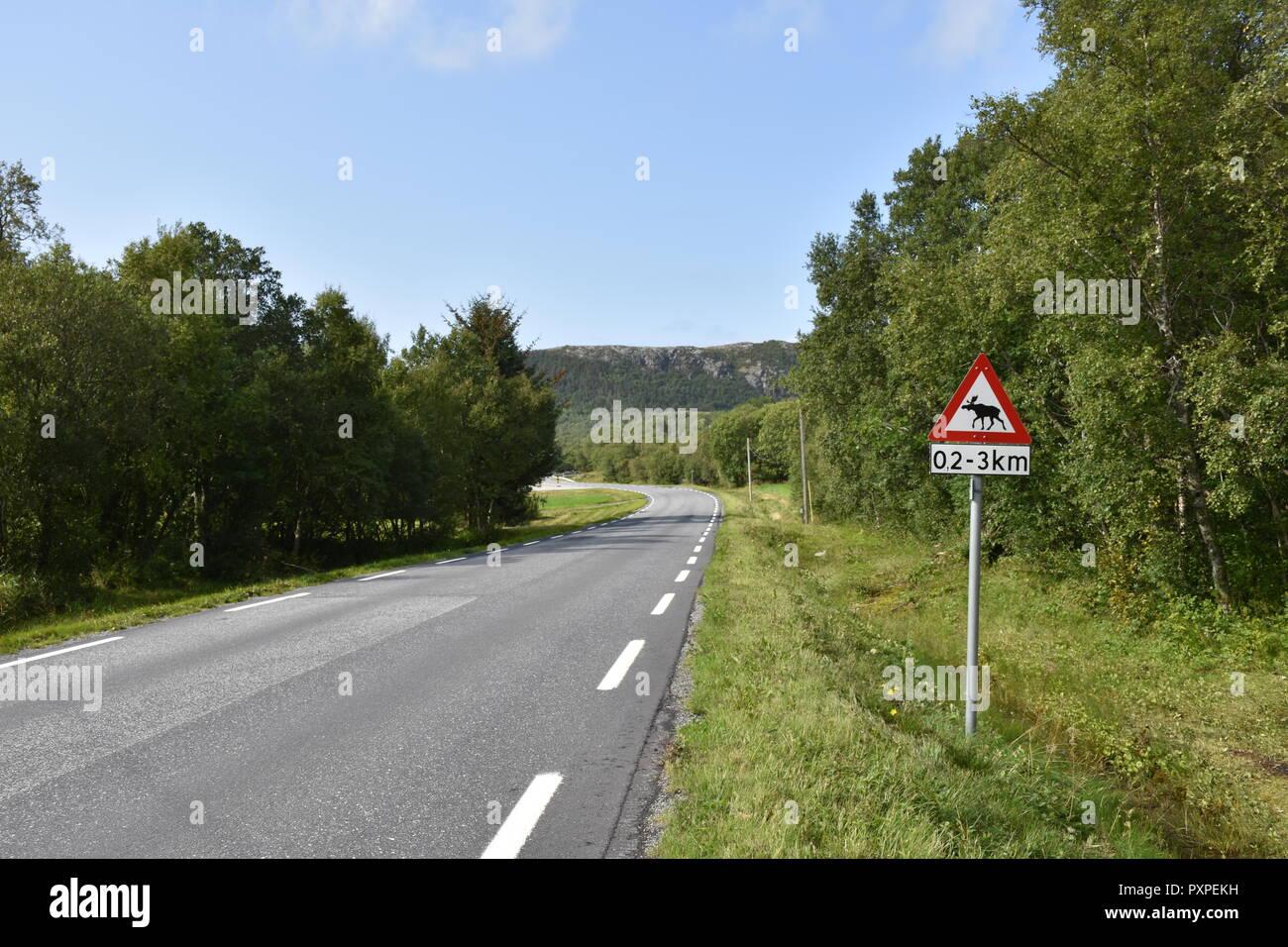 Norwegen, Verkehrszeichen, Elch, Schild, Tafel, Wildwechsel, Stark, miglior Wildwechsel, Straße, Landstraße, Distanz, km, chilometro, Wald, Warnung Immagini Stock