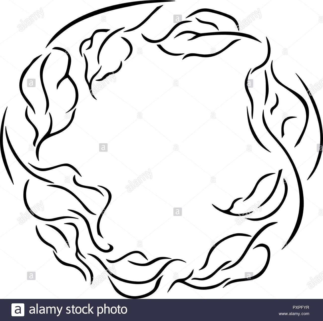 Linea semplice disegno di una ghirlanda di foglie, illustrazione vettoriale su sfondo bianco. Immagini Stock