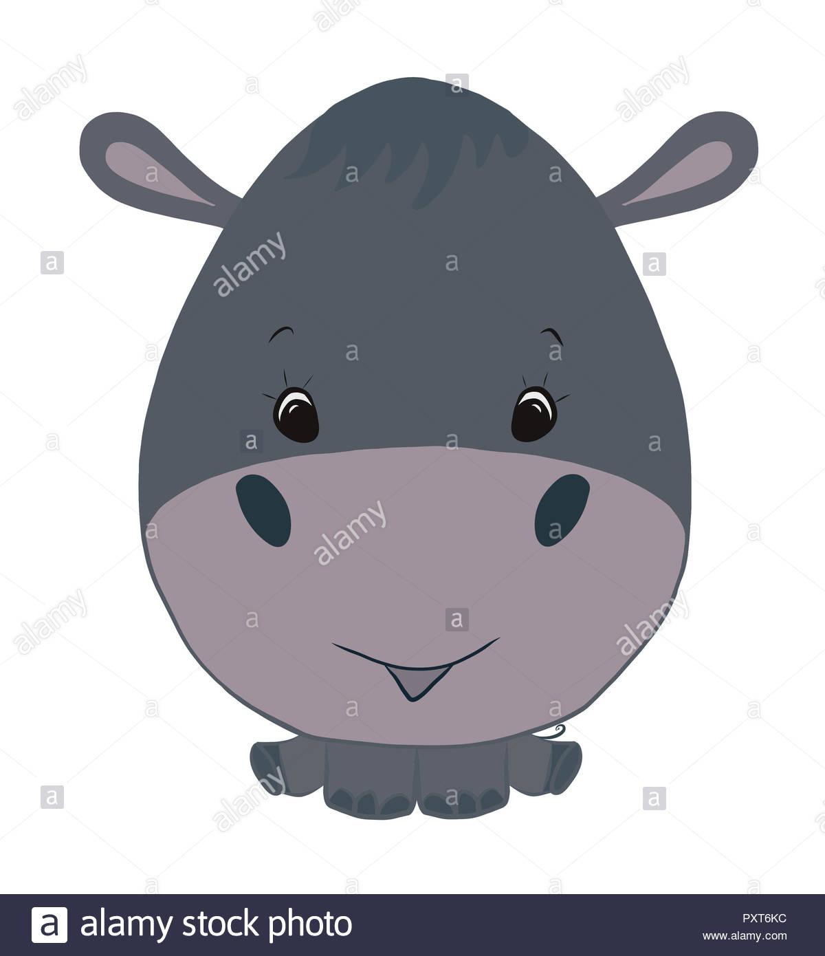 Poco allegra behemoth grigio con una testa grande foto & immagine
