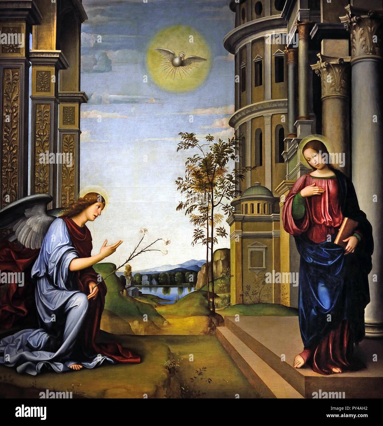 Annunciazione 1505 Francesco Francia- il Francia (Francesco Raibolini) 1450-1517 15-16Secolo, Italia, italiano. Immagini Stock