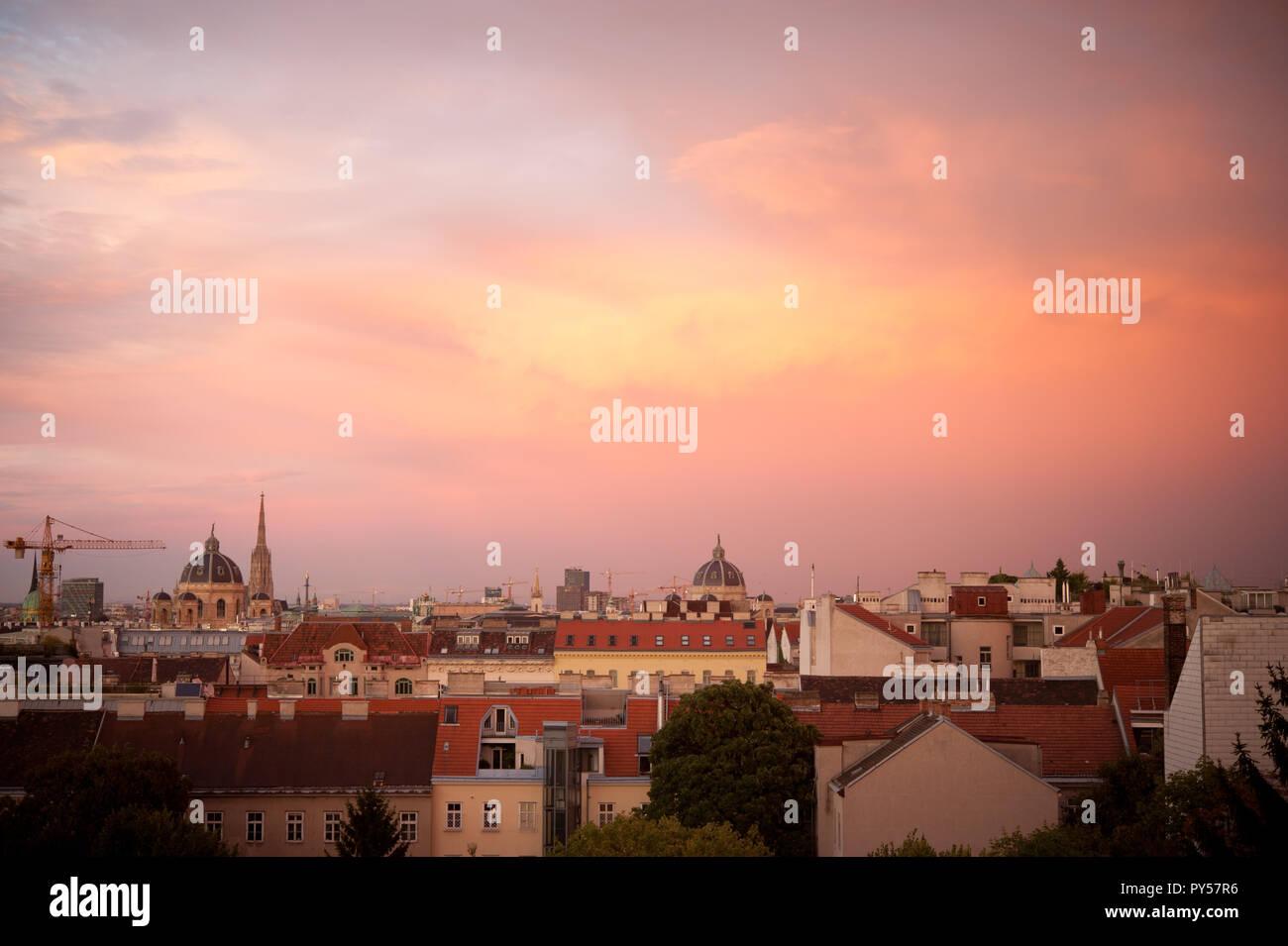 Wienpanorama, Sonnenuntergang Immagini Stock