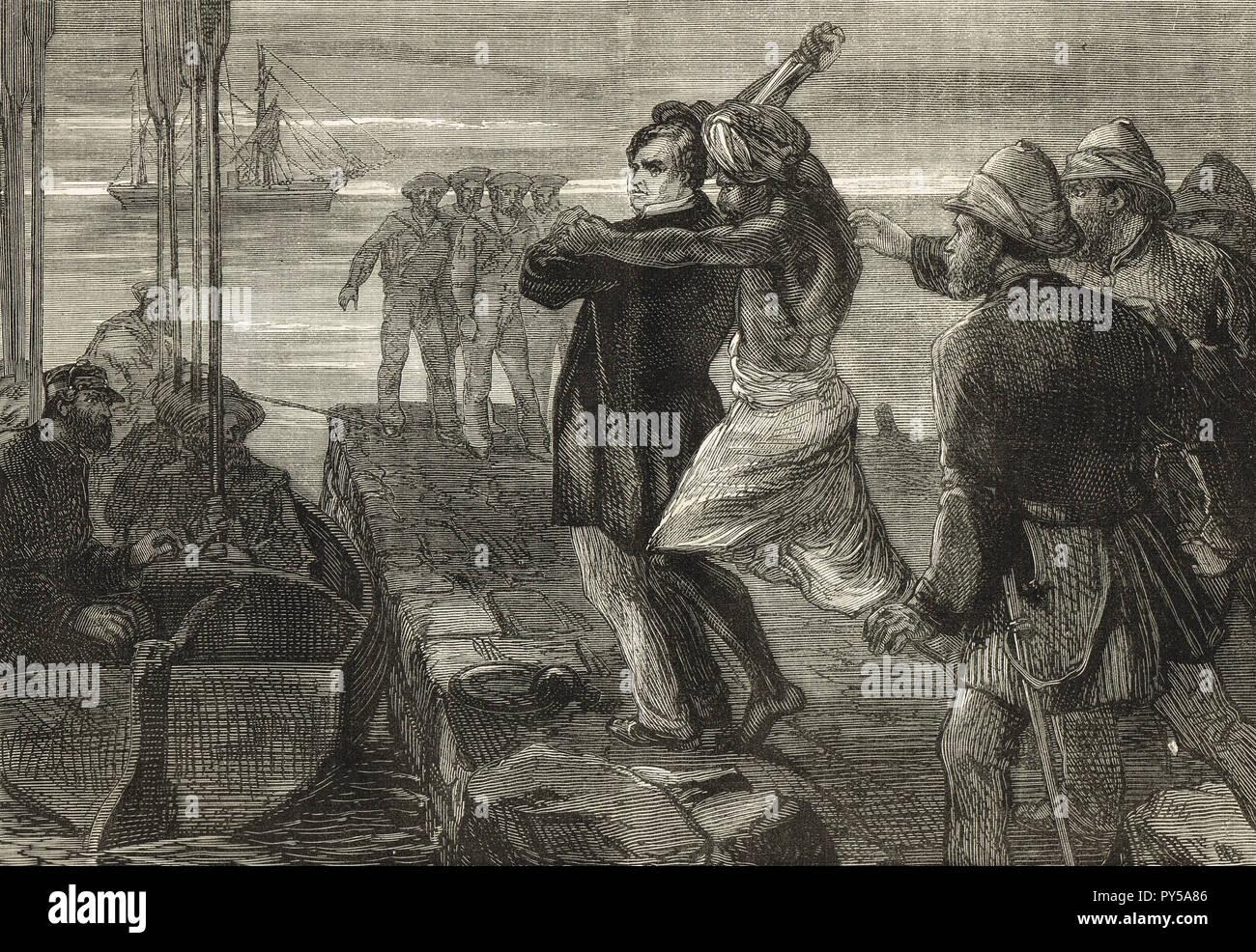 L'assassinio del conte di Mayo, Viceré di India, mentre visitano l'insediamento trusty a Port Blair nelle isole Andamane, in data 8 febbraio 1872. Assassinato da Sher Ali Afridi un Afridi Pathan condannare. Immagini Stock