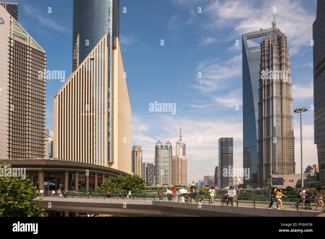 Gli edifici di nuova costruzione nel distretto di Pudong di Shanghai, Cina e Asia Immagini Stock