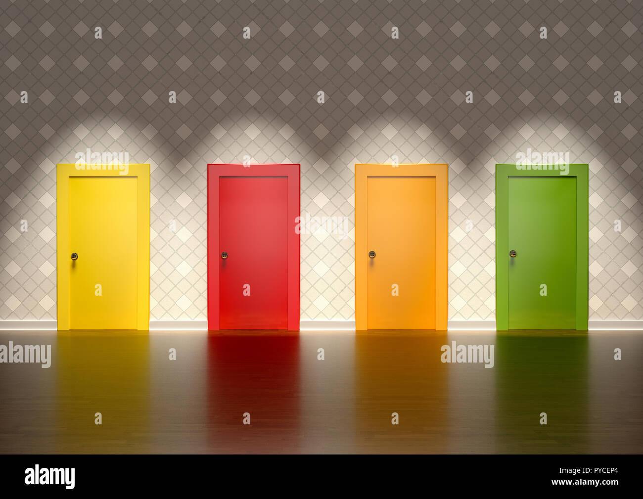 3D rendering di porte colorate in una stanza rappresenta il concetto di scelta Foto Stock