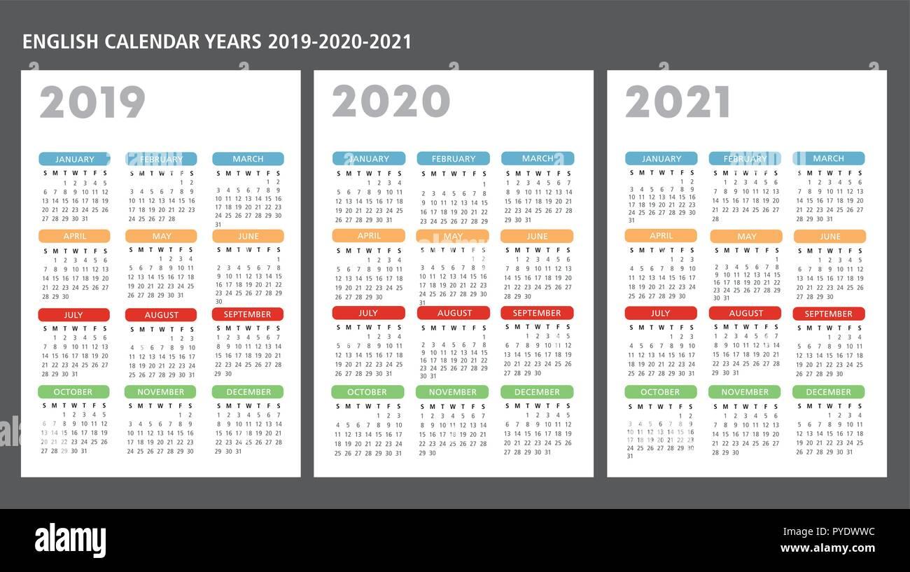 Calendario inglese 2019 2020 2021 template vettoriale il testo è