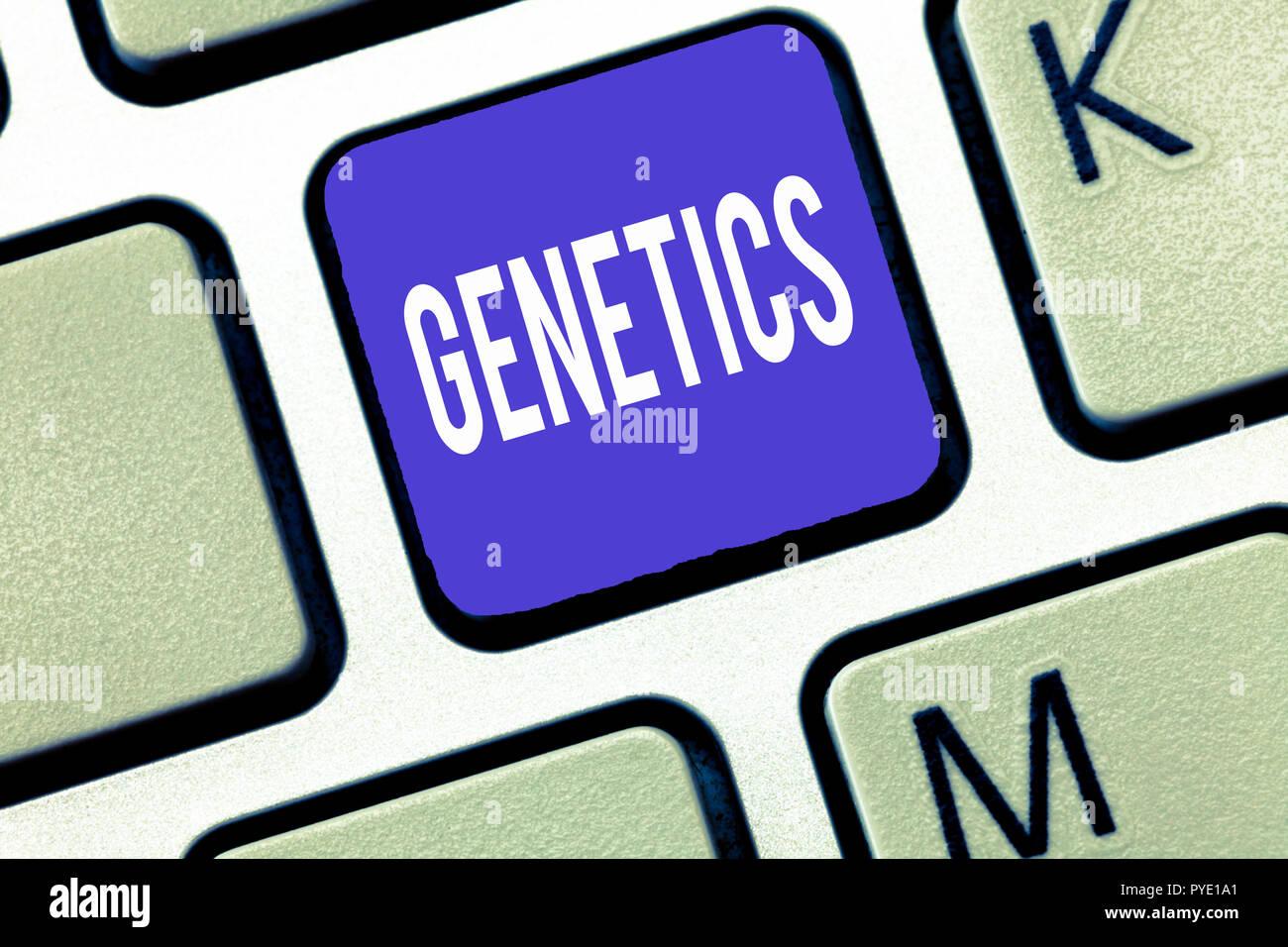 Parola di scrittura di testo di genetica. Il concetto di business per lo studio dell'eredità e la variazione delle caratteristiche ereditarie. Immagini Stock