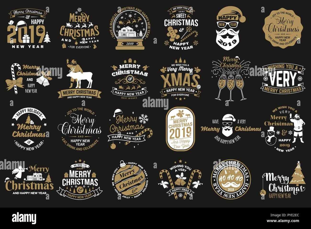 Adesivi Buon Natale.Set Di Buon Natale E Felice 2019 Anno Nuovo Timbro Adesivi