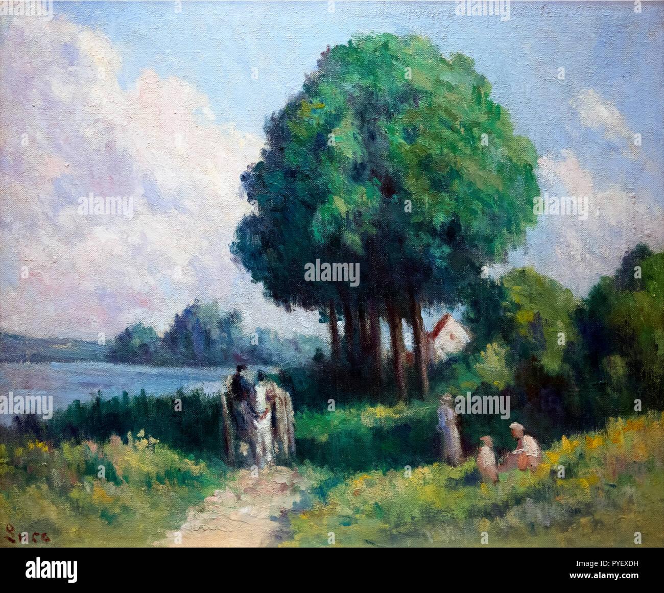 Rolleboise, riposo sotto un albero di Maximilien Luce (1858-1941), olio su tela, 1925 Immagini Stock