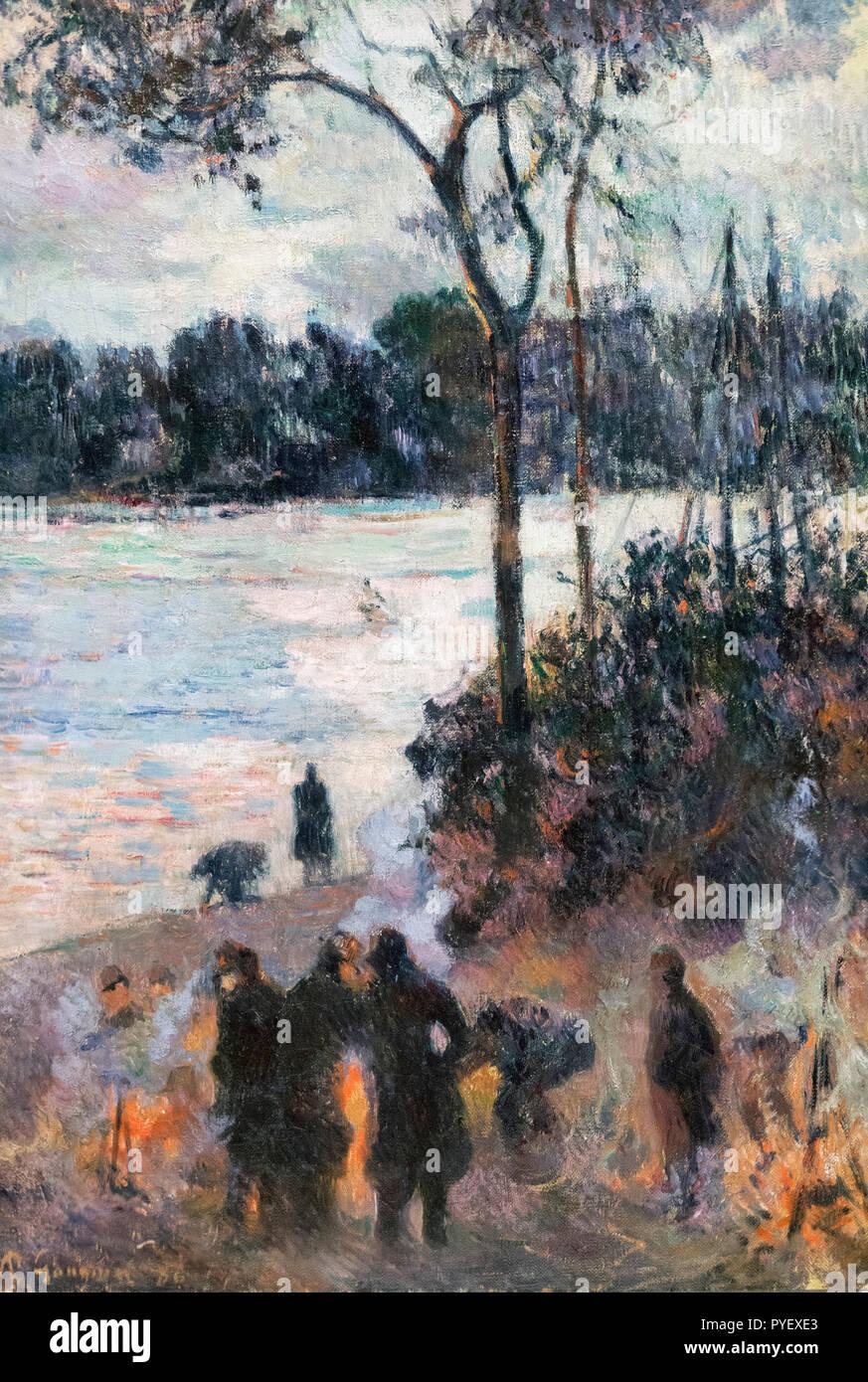 L'incendio presso la banca del fiume di Paul Gauguin (1848-1903), olio su tela, 1886 Immagini Stock