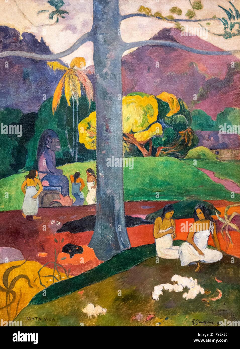 Mata Mua (Anticamente) da Paul Gauguin (1848-1903), olio su tela, 1892 Immagini Stock