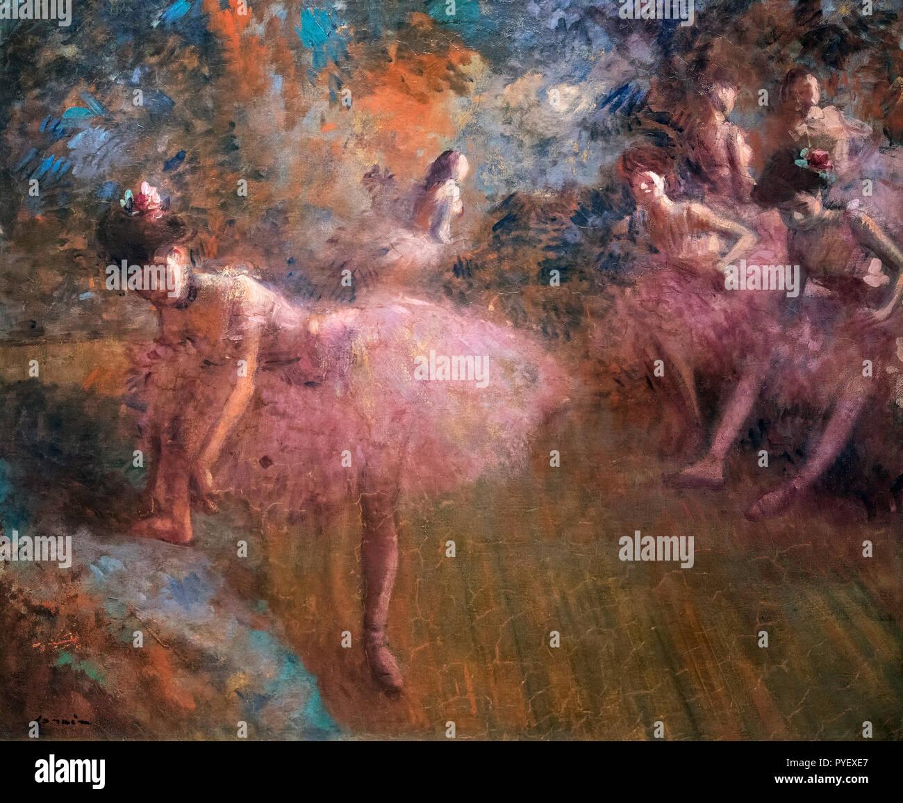 Ballerini in rosa da Jean Louis Forain (1852-1931), olio su tela, c.1905 Immagini Stock
