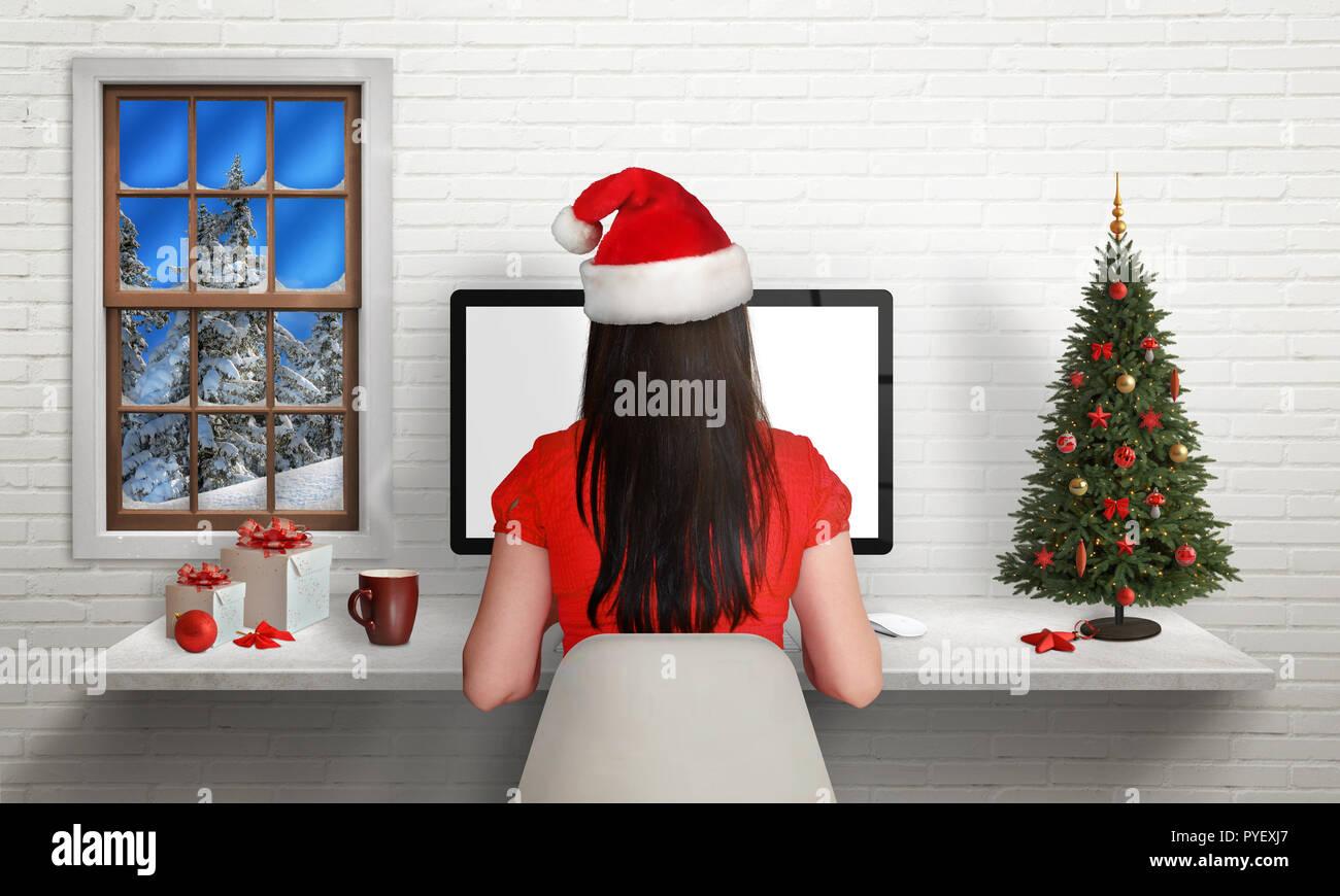 Decorazioni Natalizie Per Ufficio.Ragazza Lavoro Sul Computer Durante Le Vacanze Di Natale Nel
