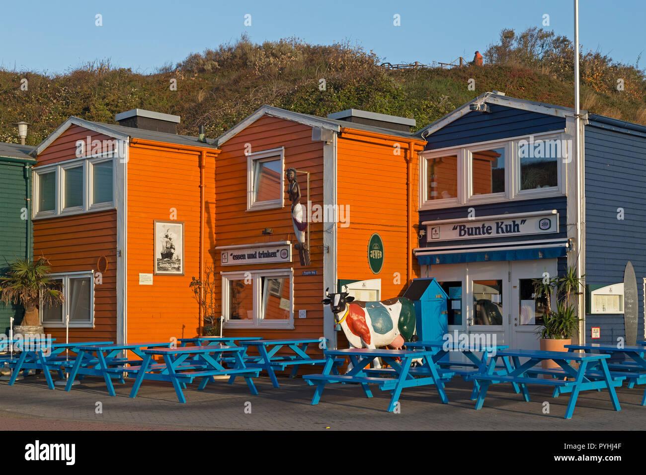 Hummerbuden (aragosta capanne), Isola di Helgoland, Schleswig-Holstein, Germania Immagini Stock