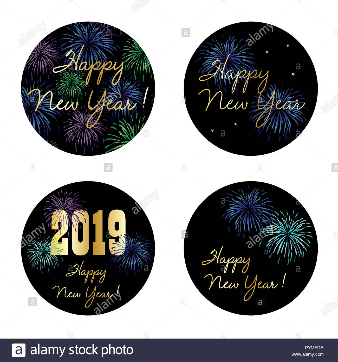 Il veglione di capodanno 2019 cerchio di grafica vettoriale con fuochi d'artificio Immagini Stock