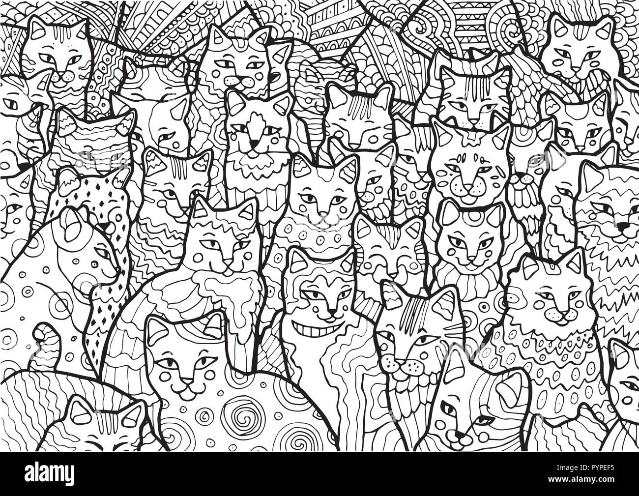Cartoon Doodle Cat Coloring Immagini Cartoon Doodle Cat Coloring