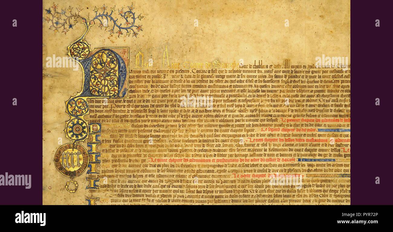 Pergamena cm 96 X 70 Statuti del collare Ordine, chiamato più tardi l'Annunciazione rinnovato di Amedeo VIII 13 Febbraio 1434 - parte del motto di casa Savoia Fert Immagini Stock