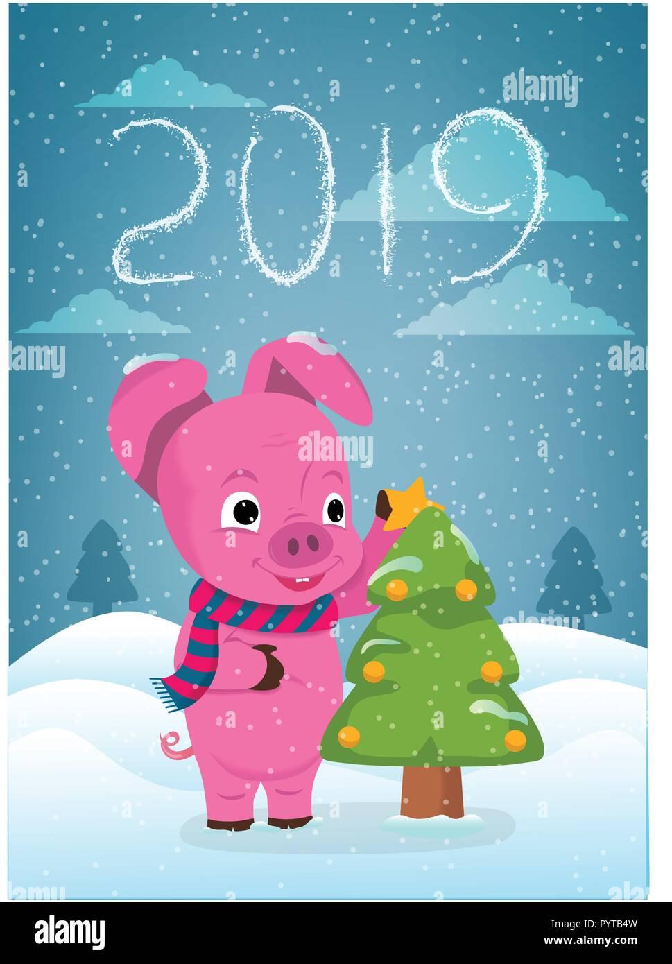 Immagini Divertenti Natale 2019.Anno Nuovo Biglietto Di Auguri Con Divertenti Maiale Carino