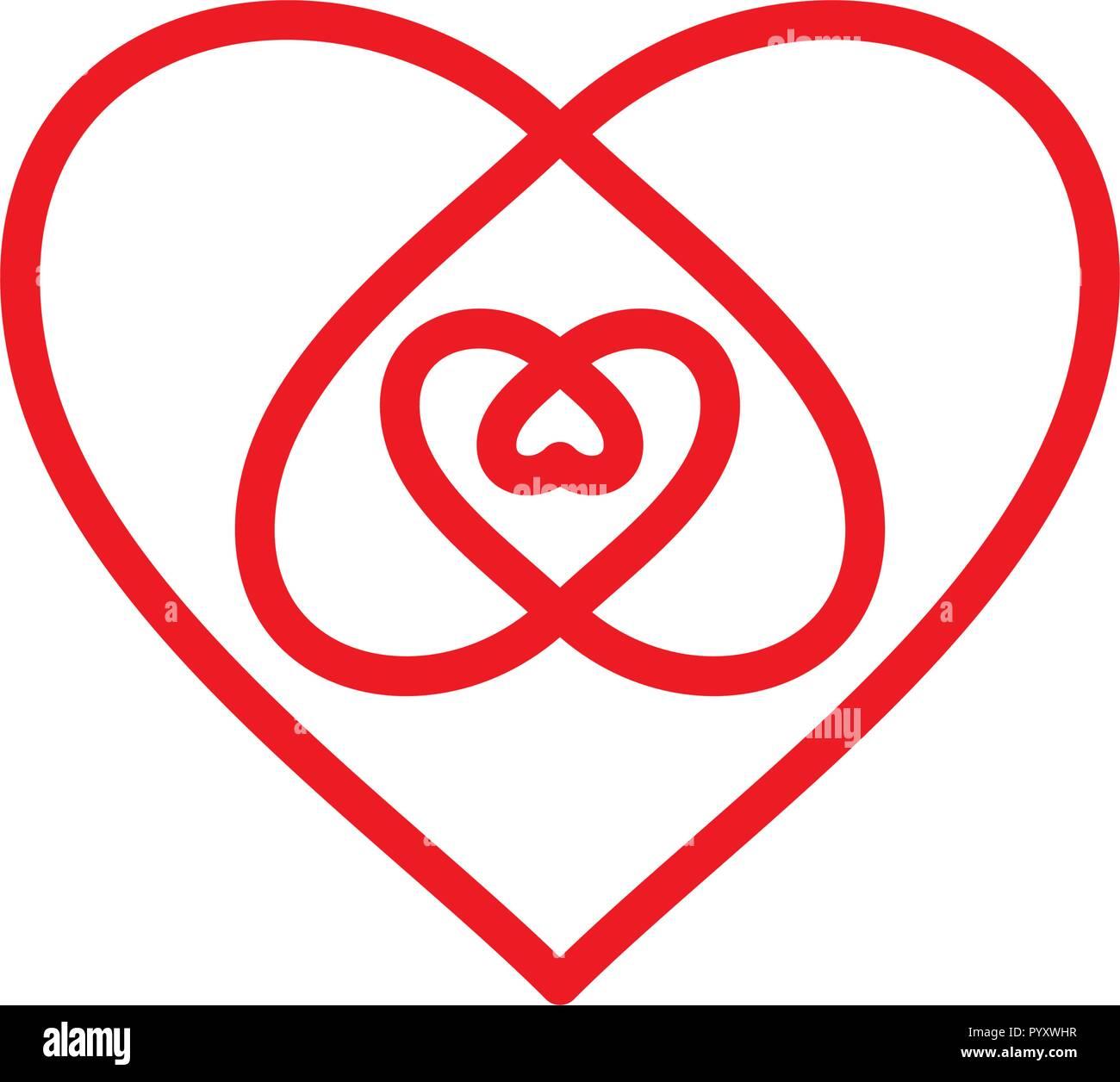 Cuore segno per il giorno di San Valentino. Illustrazione Vettoriale Immagini Stock