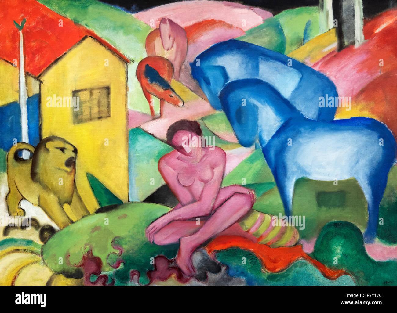 Il sogno di Franz Marc (1880-1916), olio su tela, 1912 Immagini Stock