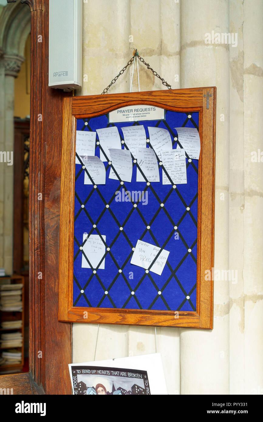 La preghiera della Chiesa scheda di richiesta Immagini Stock