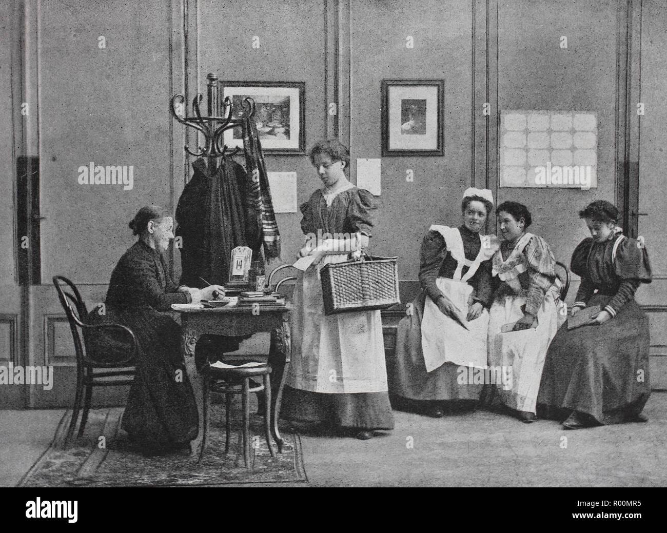 Digital riproduzione migliorata, bei der Zubringerin, originale stampa da l'anno 1899 Immagini Stock