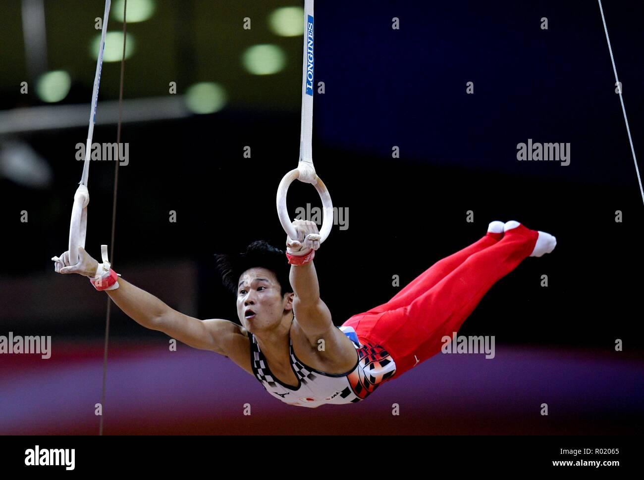 Doha in Qatar. 31 ott 2018. Kaya Kazuma di Giappone esegue sugli anelli durante l'uomo tutto attorno alla finale al 2018 figura di Ginnastica Artistica Campionati del Mondo a Doha, capitale del Qatar, il 31 ottobre 2018. Credito: Nikku/Xinhua/Alamy Live News Foto Stock