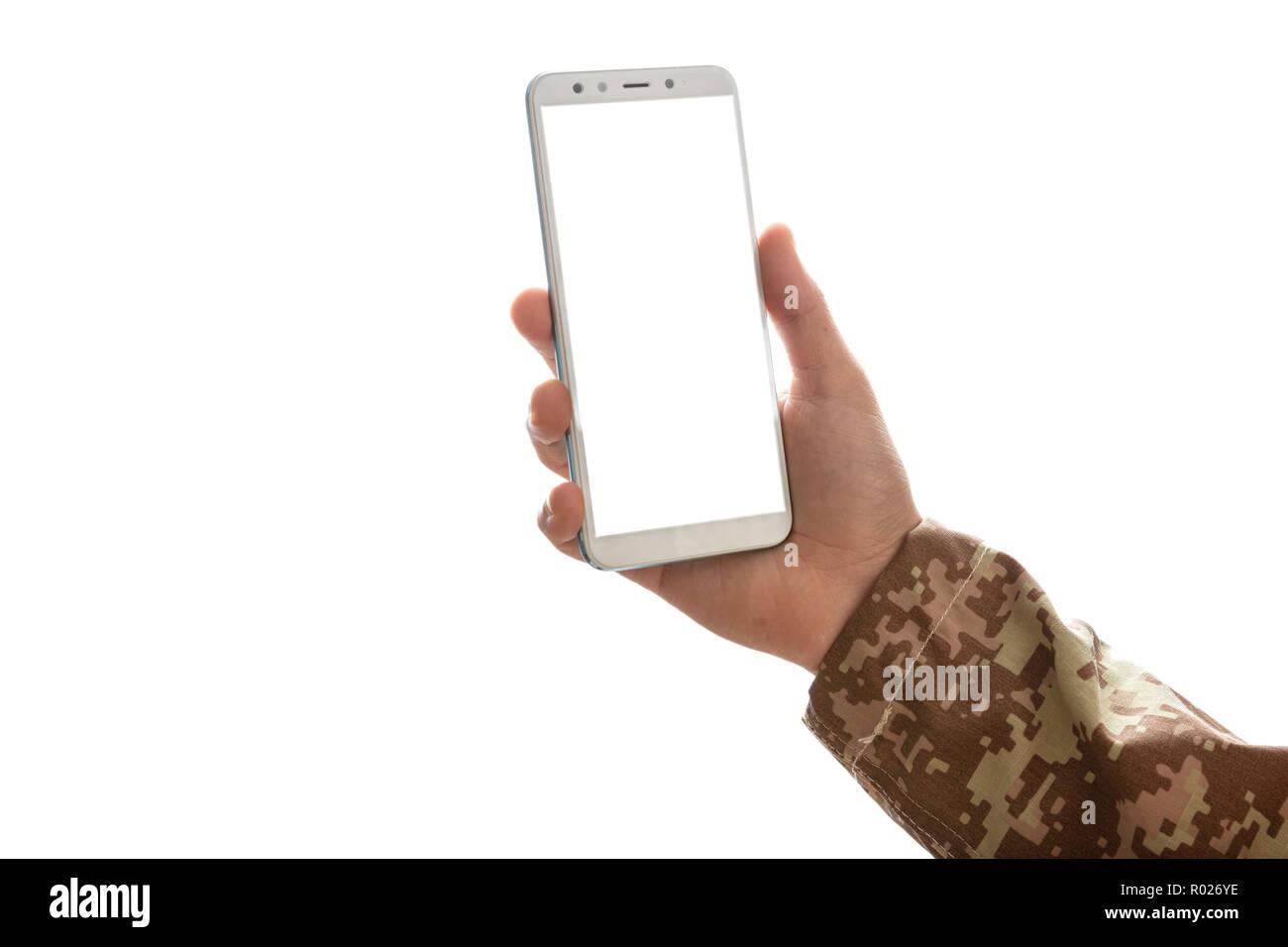Us Army Giovane Soldato In Possesso Di Un Telefono Cellulare Con