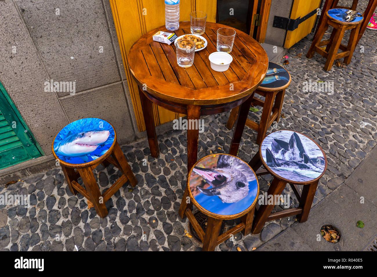Sgabelli Da Bar Divertenti : Animale sgabelli da bar al di fuori di un caffè di camara de lobos