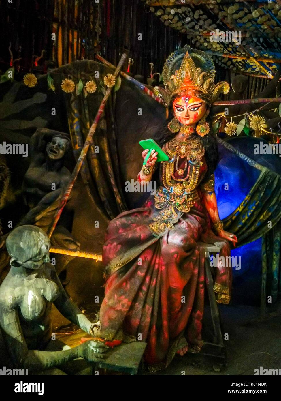 Lakshmi o Laxmi, è la dea Indù della ricchezza, Fortune, il benessere e la bellezza Immagini Stock