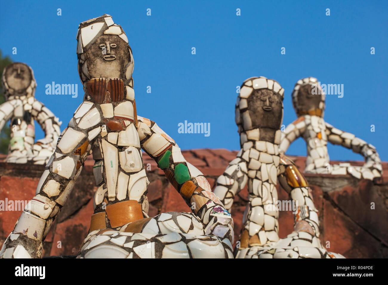 Nek Chand Rock Garden, Chandigarh, Haryana e Punjab, India, Asia Immagini Stock
