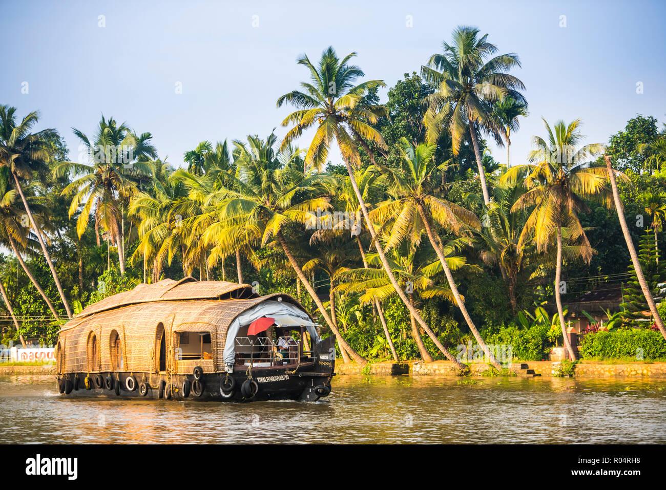 Houseboat nelle backwaters vicino a Cochin (Alappuzha), Kerala, India, Asia Immagini Stock