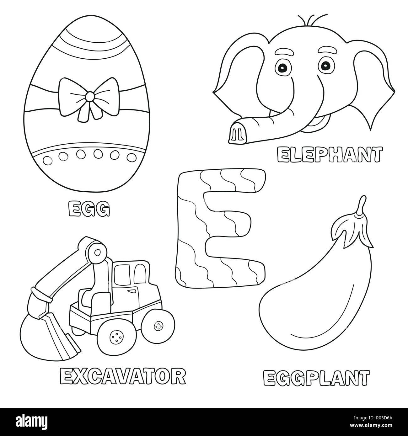 Alfabeto Per Bambini Libro Da Colorare Pagina Con Clip Delineato