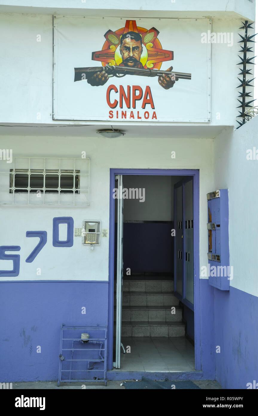 07/07/2018, Minatitlan, Sinaloa, Messico: la voce del CNPA nel ramo culican. CNPA è una delle risposte civile contro i crimini del cartello farmaco g Immagini Stock