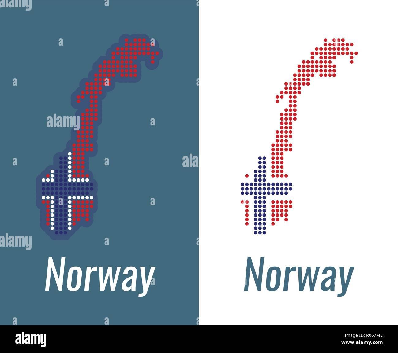 Punti Norvegese Mappa Su Un Colore Scuro E Sfondo Bianco