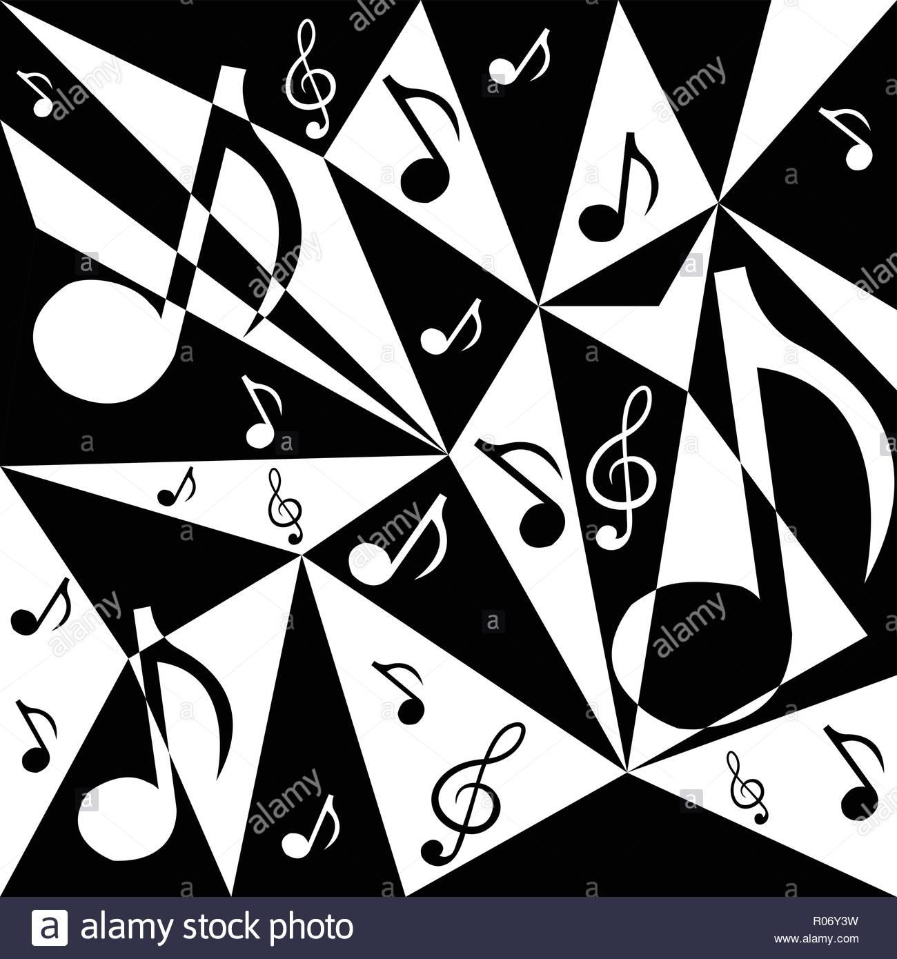 Vettore Sfondo Astratto Con Note Musicali In Bianco E Nero C