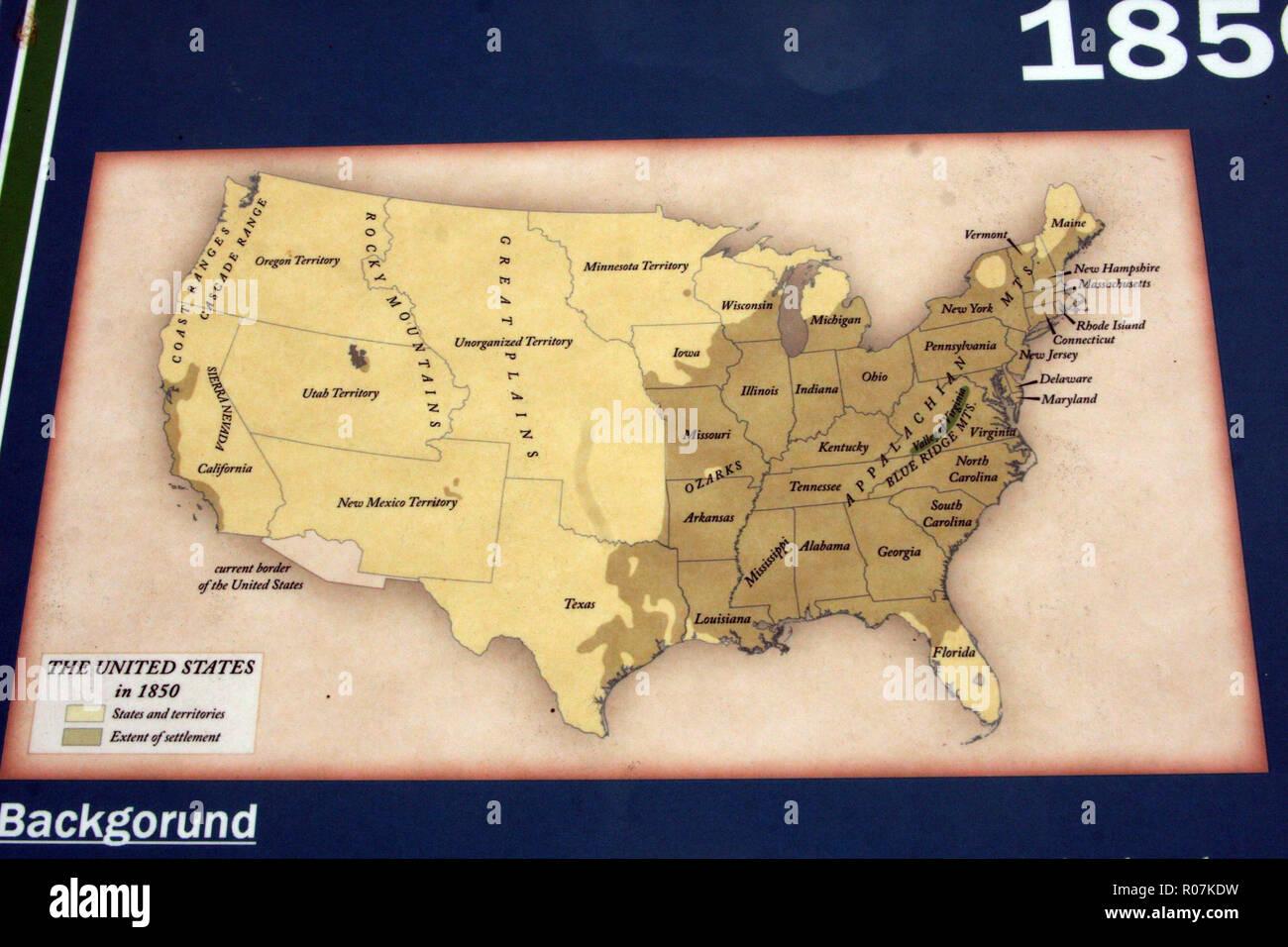 Cartina Geografica Degli Stati Uniti Di America.Mappa Degli Stati Uniti D America Nel 1850 Foto Stock Alamy