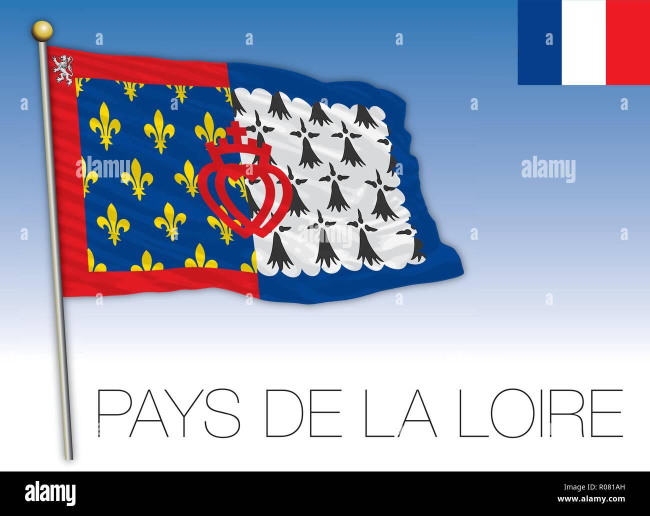 Pays de la Loire bandiera regionale, Francia, illustrazione vettoriale Immagini Stock