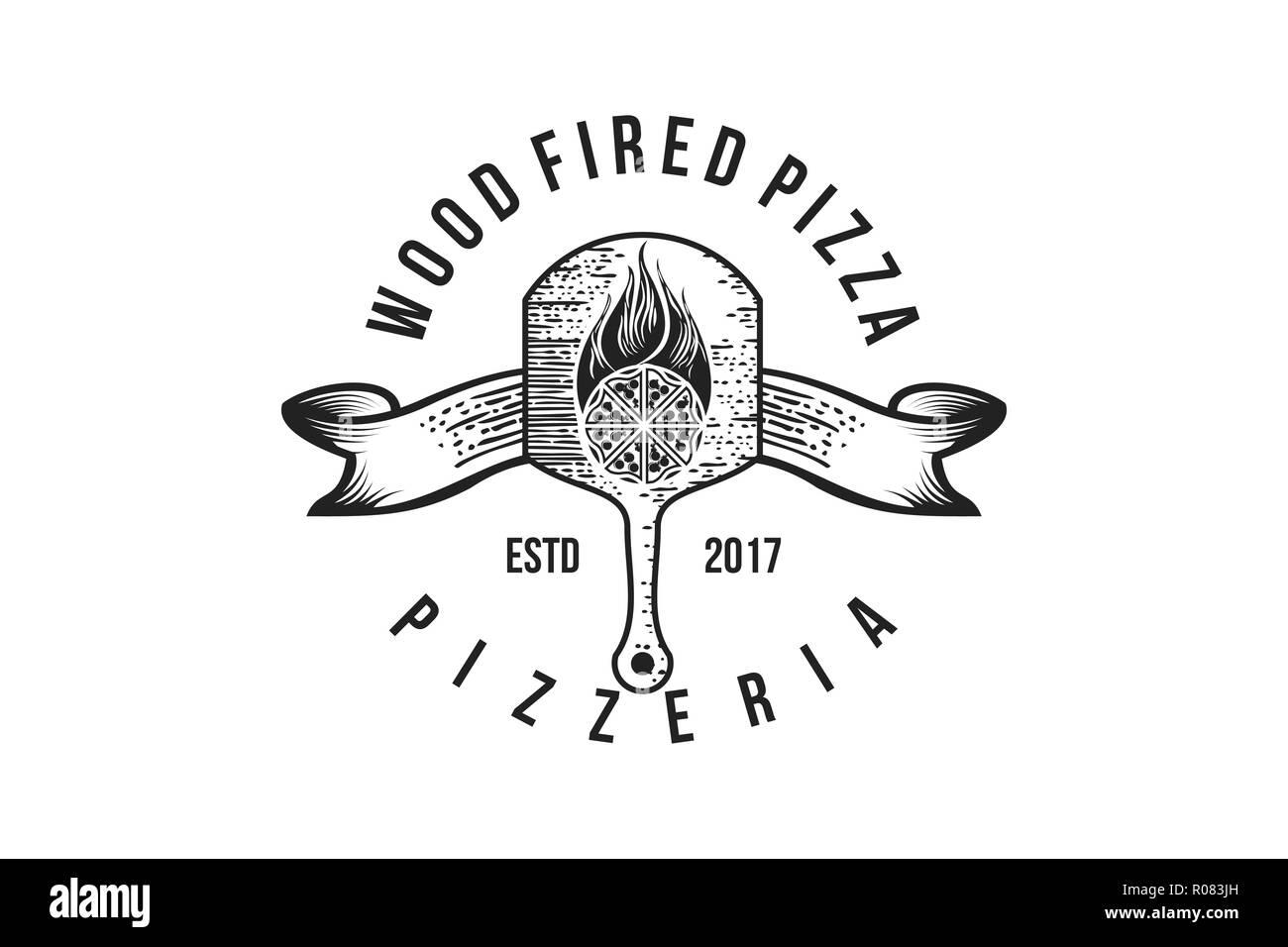 Pizza Piastra Di Legno Badge Vintage Disegni Logo Ispirazione